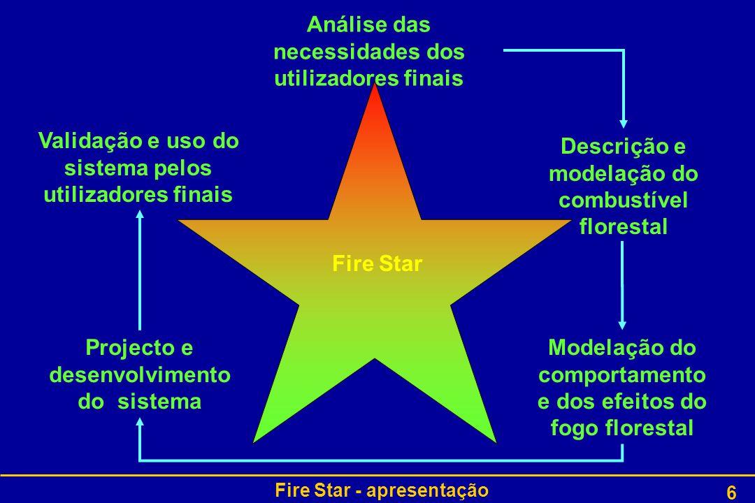 Fire Star - apresentação 17 Organização do projecto : WP6 WP6: Descrever e modelar o combustível (INIA-CIFOR) –WP6T1: Determinar as características principais das partículas do combustível Físicas: comprimento, largura, superfície, volume, razões massa- volume e superfície-volume Químicas: natureza e eficiência de produção dos compostos orgânicos voláteis, produtos da pirólise e fuligem Térmicas: poder calorífico superior, capacidade calorífica, … –WP6T2: Descrever e modelar os diferentes estratos de um complexo- combustível heterogéneo e descontínuo Adquirir dados de combustível em áreas florestais Transformar estes dados 3D (x,y,z) em parâmetros 2D (x,z) Integrar os dados arquitecturais Distribuir as diferentes famílias das partículas de combustível pelas células do domínio de resolução para as zonas 1 e 2 Voltar a Organização