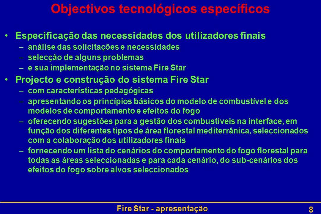 Fire Star - apresentação 19 WP8: Disseminação dos resultados do Fire Star e plano de implementação tecnológica (MTDA) –WP8T1: Construir e actualizar a página Internet do Fire Star (eufirestar.org) –WP8T2: Treinar os utilizadores finais do sistema Fire Star Manual de instruções Princípios básicos dos métodos e modelos Orientações de gestão de combustíveis na interface Orientações para estimar a combustibilidade na interface –WP8T3: Implementar o plano tecnológico Avaliar os custos da análise de novos casos ou da resposta a necessidades específicas Especificar o conteúdo dos serviços a disponibilizar: descrever o combustível, caracterizar os alvos expostos, definir as condições do incêndio (meteorologia, humidade,…), elaborar os ficheiros de entrada para os modelos de comportamento e impactes do fogo, efectuar simulações numéricas, coligir e analisar os resultados Organização do projecto : WP8 Voltar a Organização