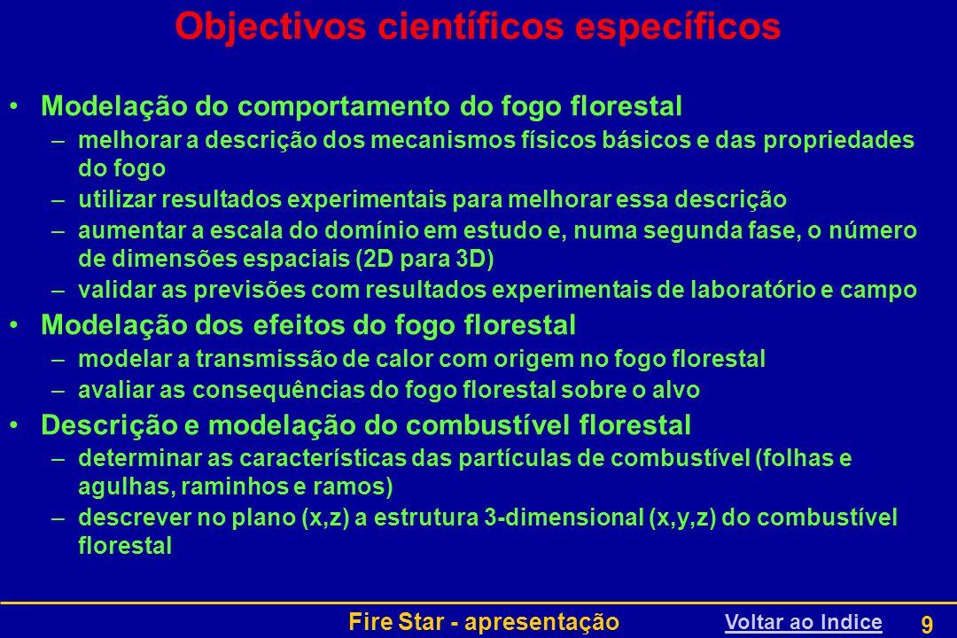 Fire Star - apresentação 10 Organização do projecto WP1: Coordenação do projectoWP1 WP2: Necessidades dos utilizadores finaisWP2 WP3: O sistema de apoio à decisão Fire StarWP3 WP4: Comportamento do fogo florestal, modelação dos efeitos e simulações numéricasWP4 WP5: Actividades experimentais para melhorar o modelo de comportamento do fogo florestalWP5 WP6: Descrição e modelação do combustível florestalWP6 WP7: Fogos experimentais para validação do modelo de comportamento do fogo florestalWP7 WP8: Disseminação dos resultados do Fire Star e plano de execução tecnológicaWP8 Articulação dos módulos de trabalhoArticulação Plano dos trabalhosPlano Voltar ao Indice