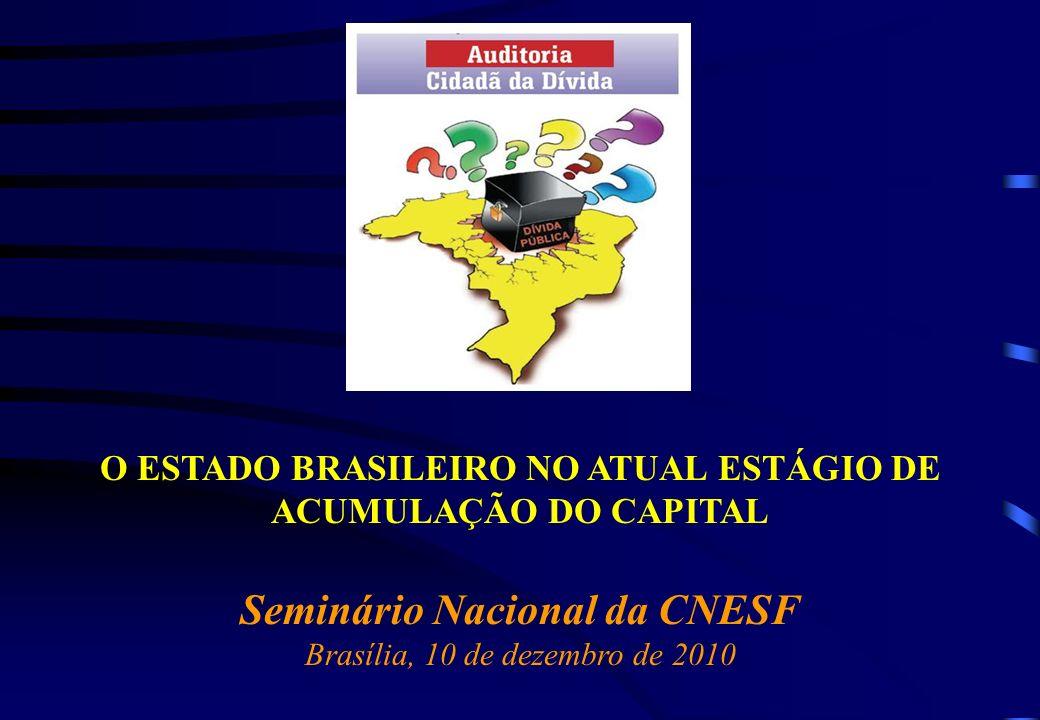 O ESTADO BRASILEIRO NO ATUAL ESTÁGIO DE ACUMULAÇÃO DO CAPITAL Seminário Nacional da CNESF Brasília, 10 de dezembro de 2010