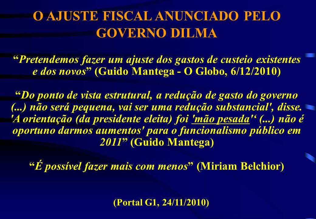 O AJUSTE FISCAL ANUNCIADO PELO GOVERNO DILMA Pretendemos fazer um ajuste dos gastos de custeio existentes e dos novos (Guido Mantega - O Globo, 6/12/2