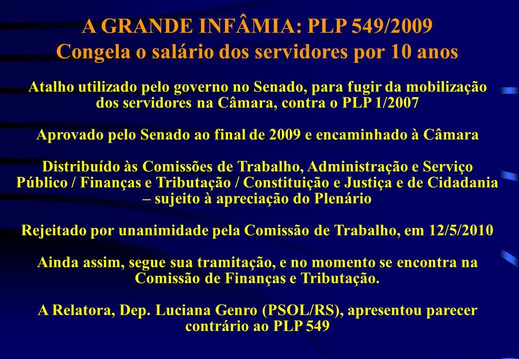 A GRANDE INFÂMIA: PLP 549/2009 Congela o salário dos servidores por 10 anos Atalho utilizado pelo governo no Senado, para fugir da mobilização dos ser