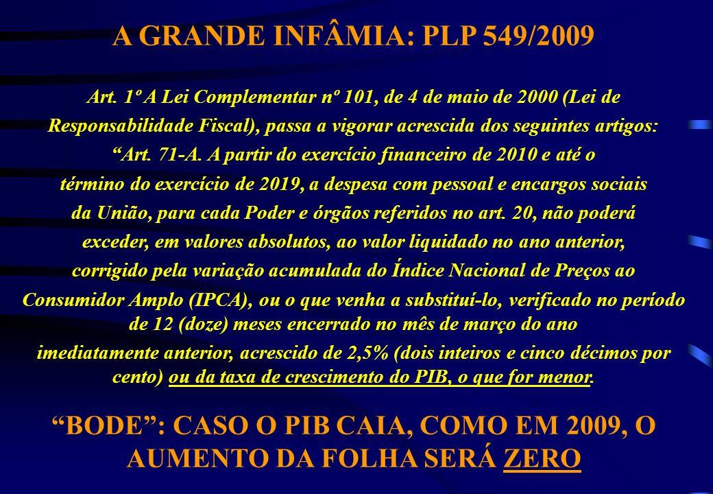 A GRANDE INFÂMIA: PLP 549/2009 Art.