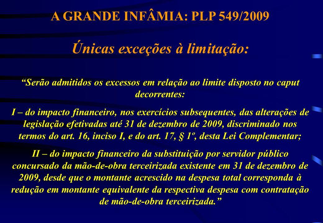 A GRANDE INFÂMIA: PLP 549/2009 Únicas exceções à limitação: Serão admitidos os excessos em relação ao limite disposto no caput decorrentes: I – do imp