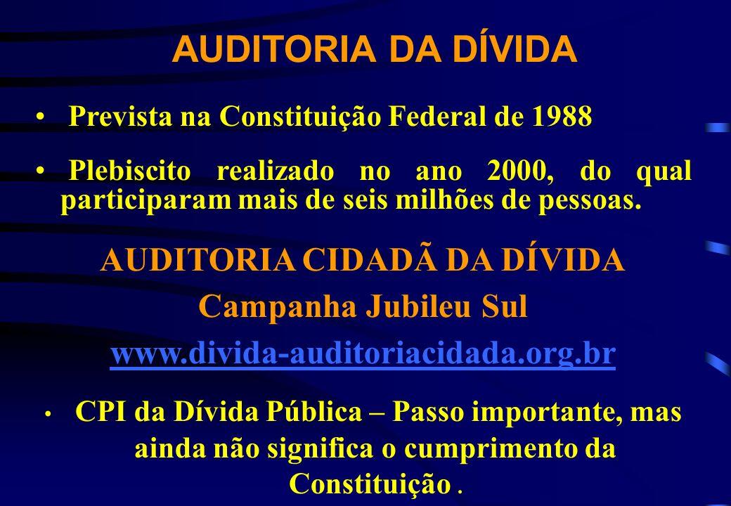 Prevista na Constituição Federal de 1988 Plebiscito realizado no ano 2000, do qual participaram mais de seis milhões de pessoas. AUDITORIA CIDADÃ DA D