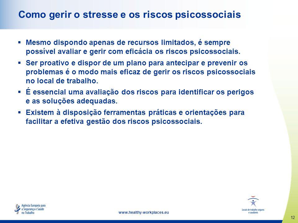 12 www.healthy-workplaces.eu Como gerir o stresse e os riscos psicossociais Mesmo dispondo apenas de recursos limitados, é sempre possível avaliar e g