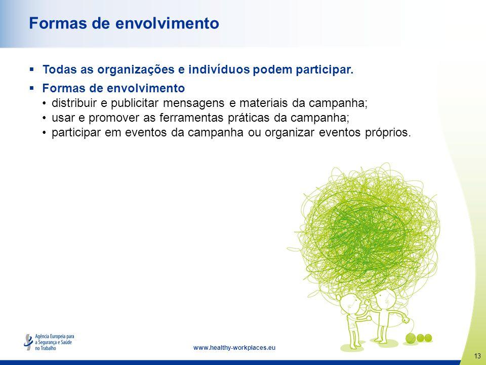 13 www.healthy-workplaces.eu Formas de envolvimento Todas as organizações e indivíduos podem participar. Formas de envolvimento distribuir e publicita