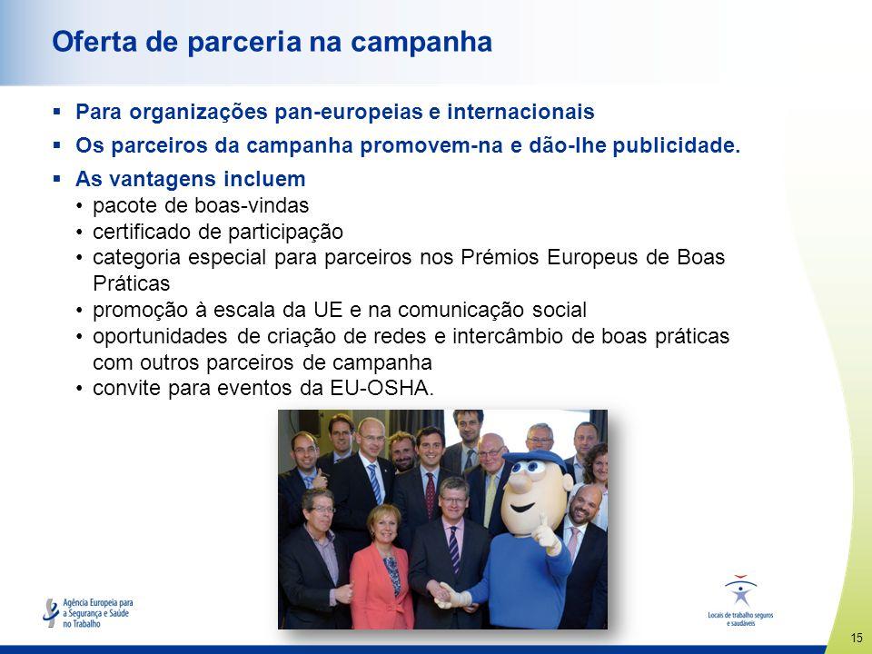 15 www.healthy-workplaces.eu Oferta de parceria na campanha Para organizações pan-europeias e internacionais Os parceiros da campanha promovem-na e dã