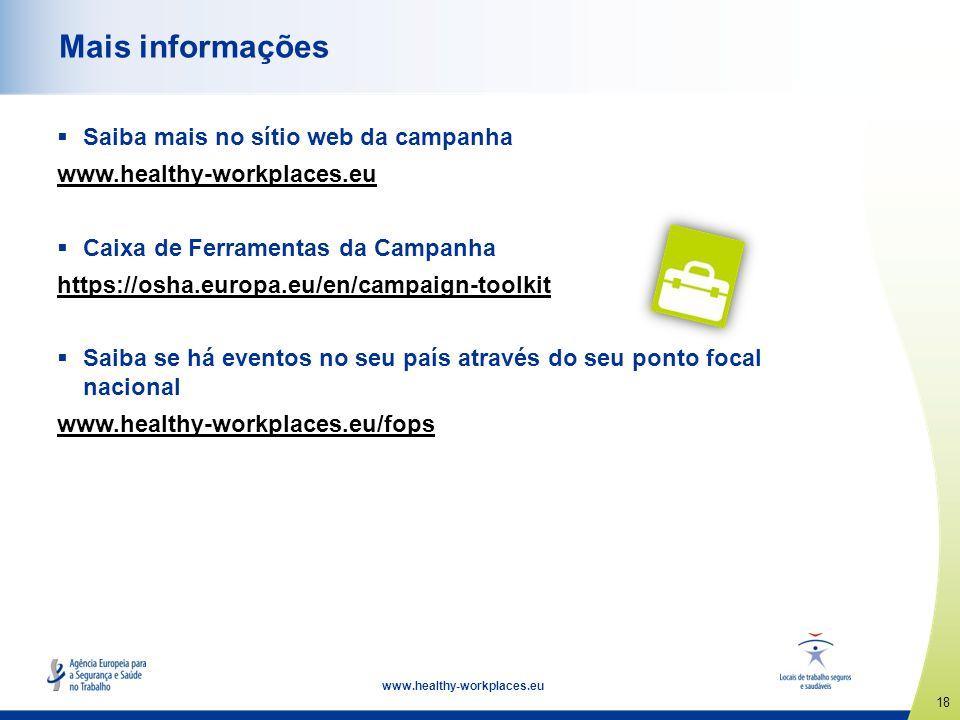 18 www.healthy-workplaces.eu Mais informações Saiba mais no sítio web da campanha www.healthy-workplaces.eu Caixa de Ferramentas da Campanha https://o