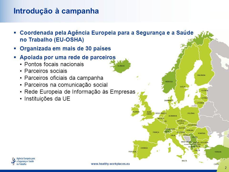 2 www.healthy-workplaces.eu Introdução à campanha Coordenada pela Agência Europeia para a Segurança e a Saúde no Trabalho (EU-OSHA) Organizada em mais