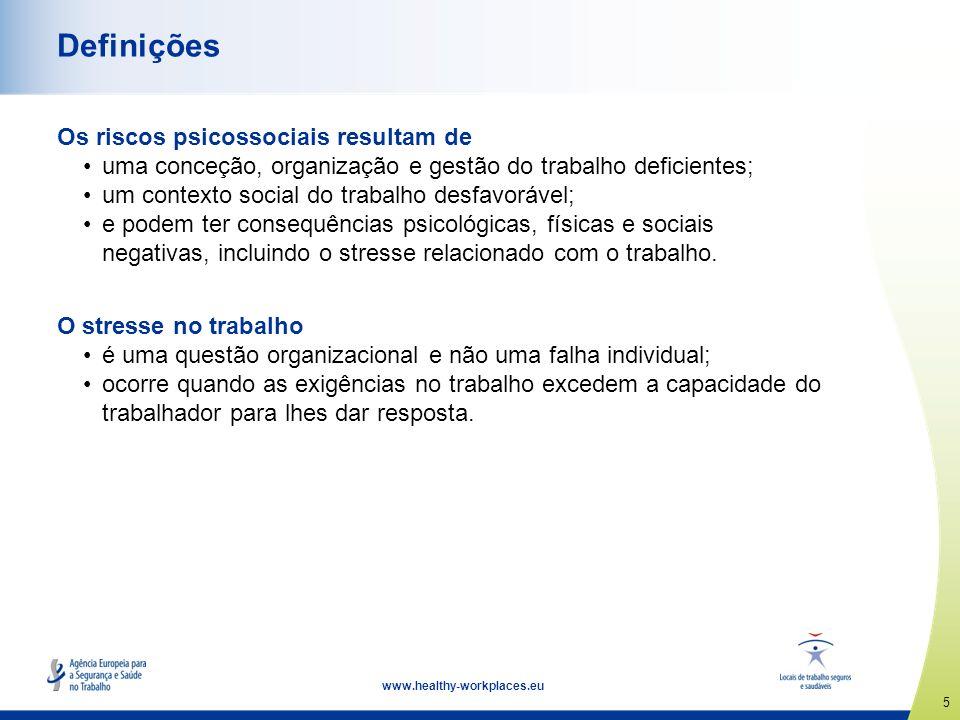 5 www.healthy-workplaces.eu Definições Os riscos psicossociais resultam de uma conceção, organização e gestão do trabalho deficientes; um contexto soc