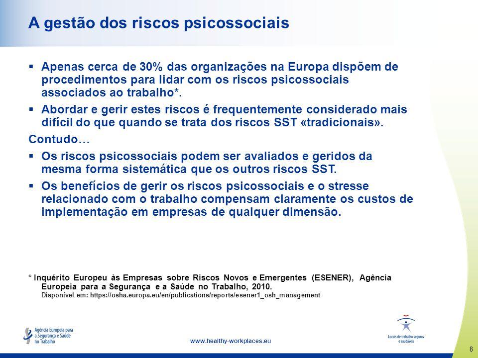 8 www.healthy-workplaces.eu A gestão dos riscos psicossociais Apenas cerca de 30% das organizações na Europa dispõem de procedimentos para lidar com o
