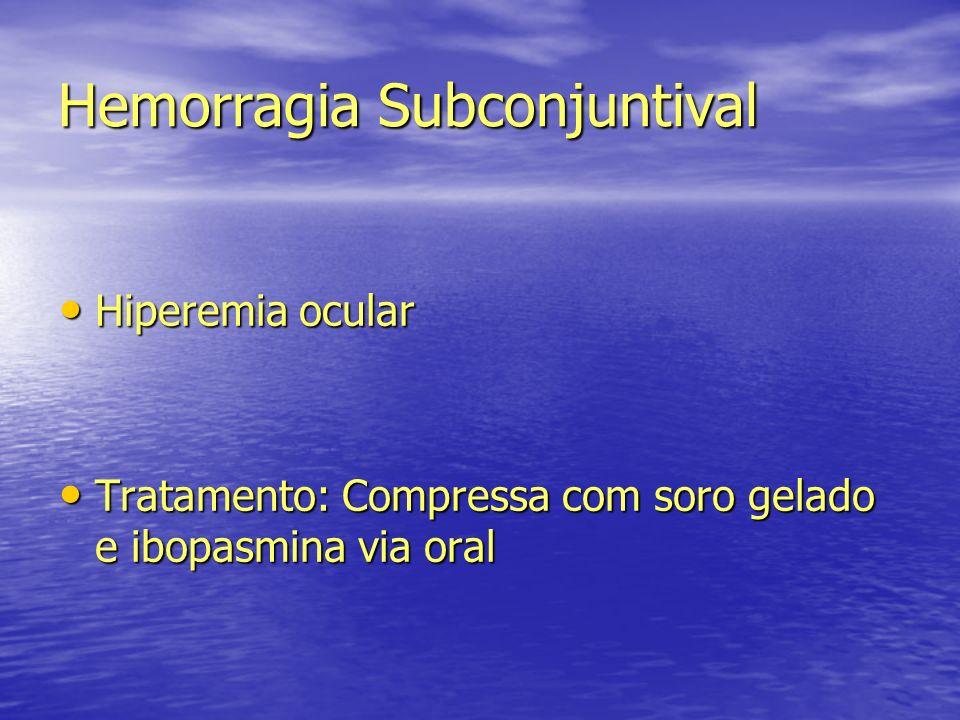Hemorragia Subconjuntival Hiperemia ocular Hiperemia ocular Tratamento: Compressa com soro gelado e ibopasmina via oral Tratamento: Compressa com soro
