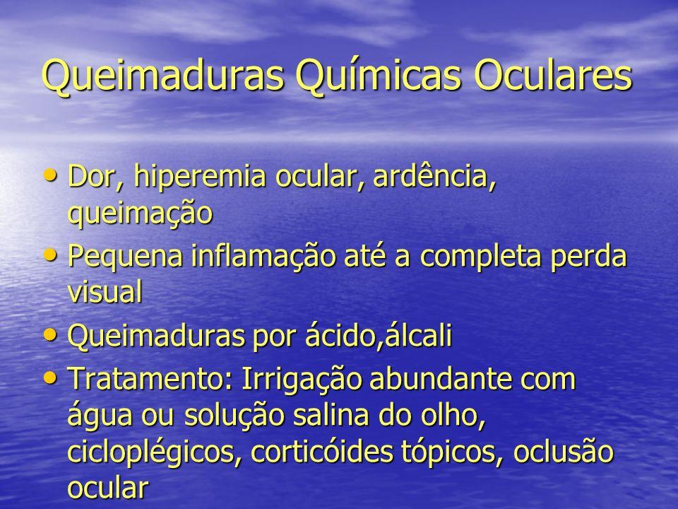Queimaduras Químicas Oculares Dor, hiperemia ocular, ardência, queimação Dor, hiperemia ocular, ardência, queimação Pequena inflamação até a completa