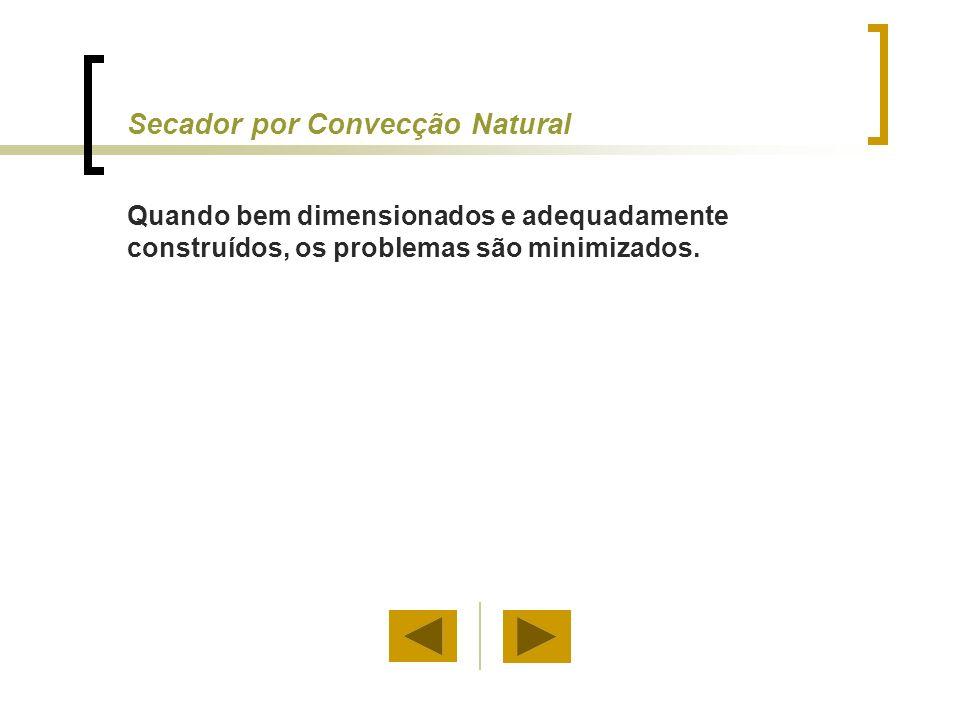 Secador por Convecção Natural Quando bem dimensionados e adequadamente construídos, os problemas são minimizados.