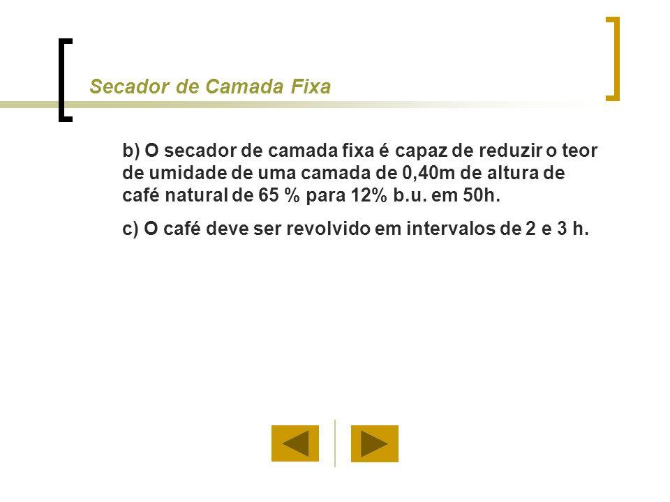 Secador de Camada Fixa b) O secador de camada fixa é capaz de reduzir o teor de umidade de uma camada de 0,40m de altura de café natural de 65 % para 12% b.u.