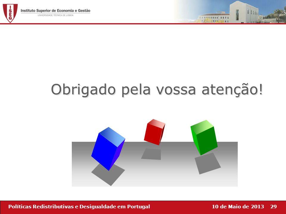 10 de Maio de 201329Políticas Redistributivas e Desigualdade em Portugal Obrigado pela vossa atenção!
