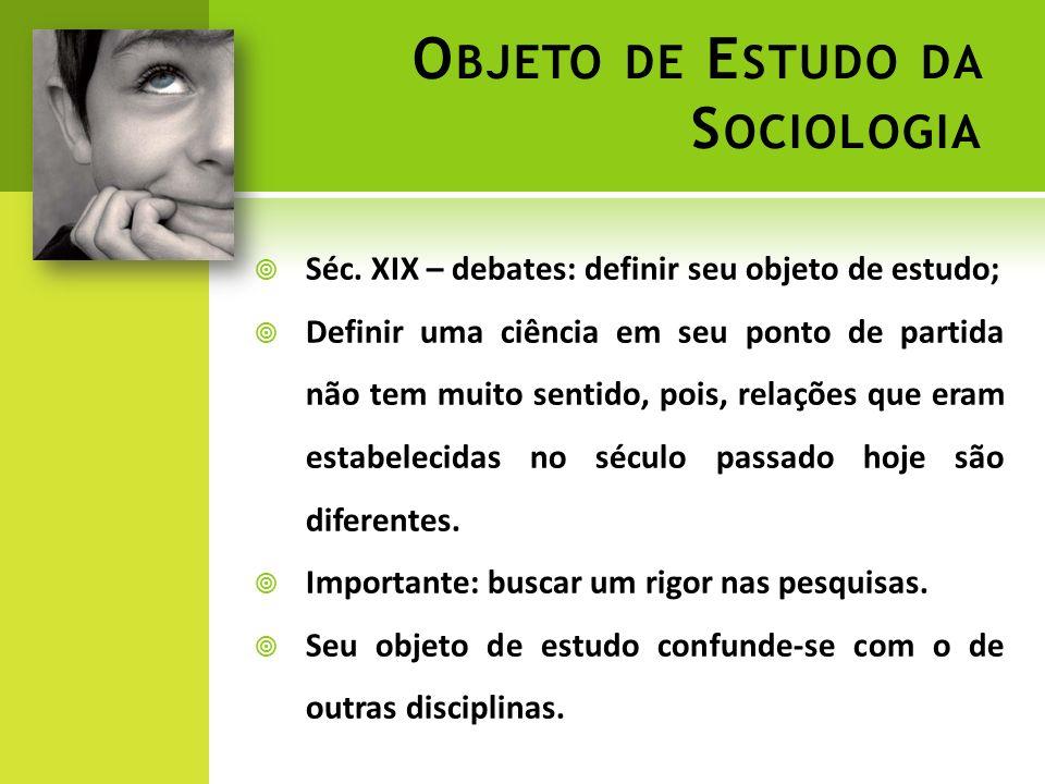 O BJETO DE E STUDO DA S OCIOLOGIA Séc.
