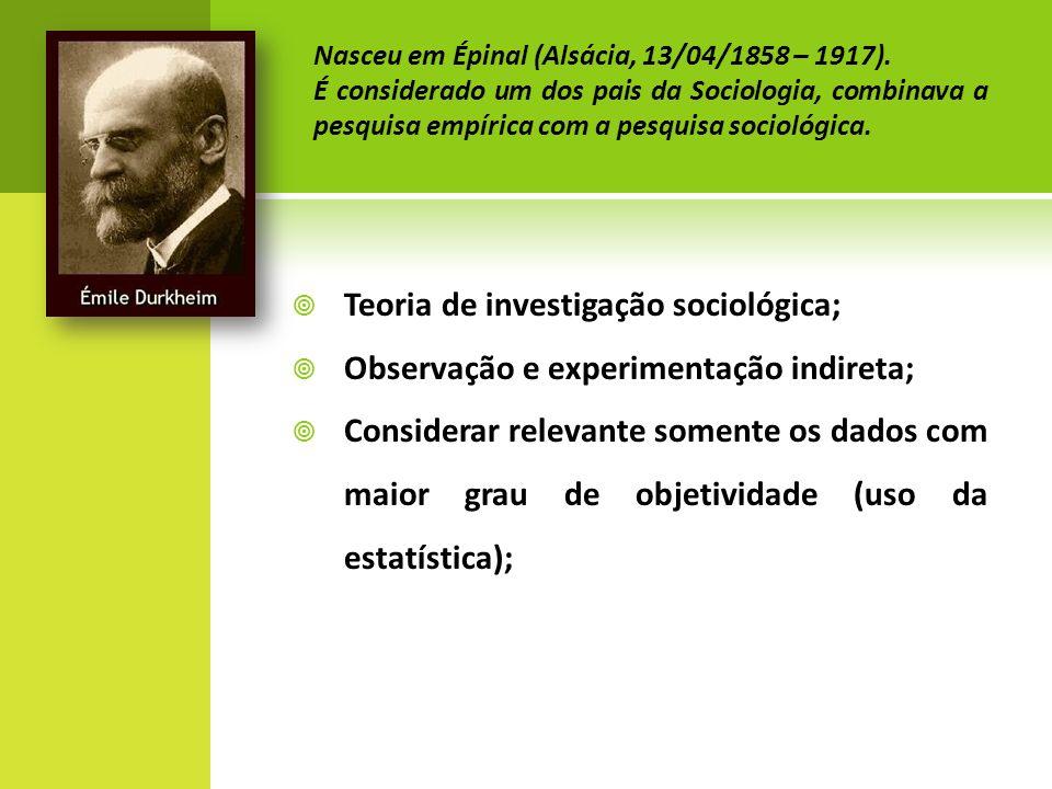 Teoria de investigação sociológica; Observação e experimentação indireta; Considerar relevante somente os dados com maior grau de objetividade (uso da estatística); Nasceu em Épinal (Alsácia, 13/04/1858 – 1917).