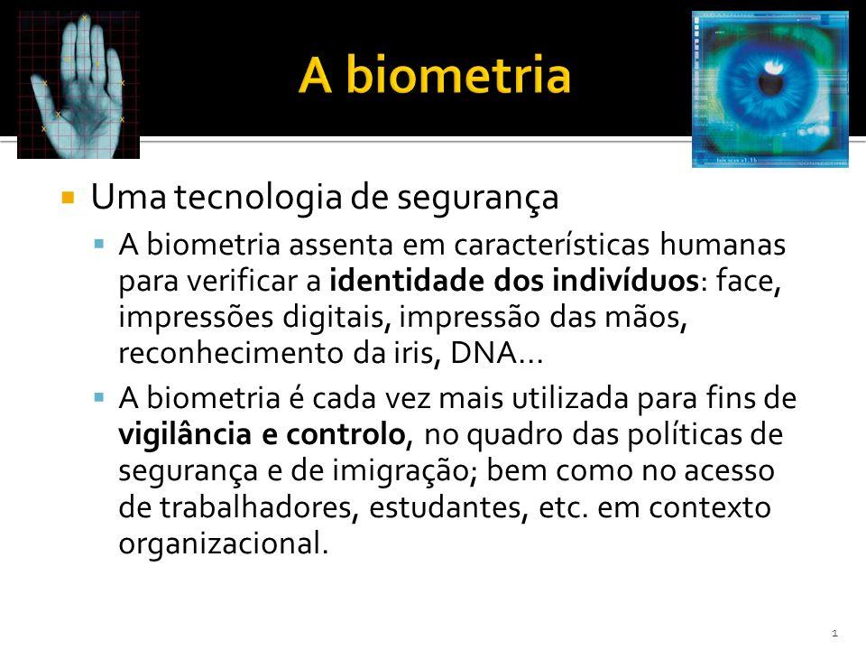 Uma tecnologia de segurança A biometria assenta em características humanas para verificar a identidade dos indivíduos: face, impressões digitais, impressão das mãos, reconhecimento da iris, DNA...
