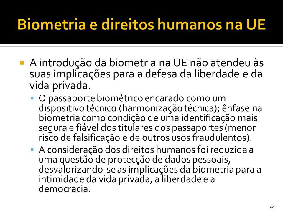 A introdução da biometria na UE não atendeu às suas implicações para a defesa da liberdade e da vida privada.