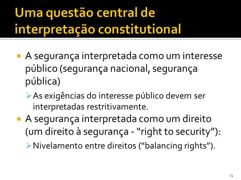 A segurança interpretada como um interesse público (segurança nacional, segurança pública) As exigências do interesse público devem ser interpretadas restritivamente.
