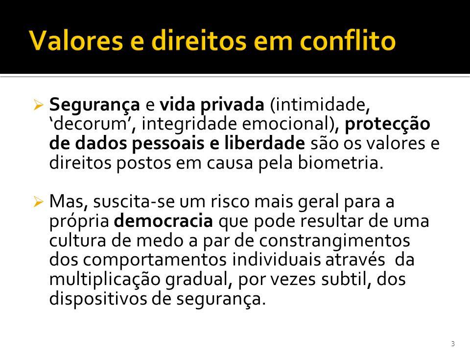Segurança e vida privada (intimidade, decorum, integridade emocional), protecção de dados pessoais e liberdade são os valores e direitos postos em causa pela biometria.