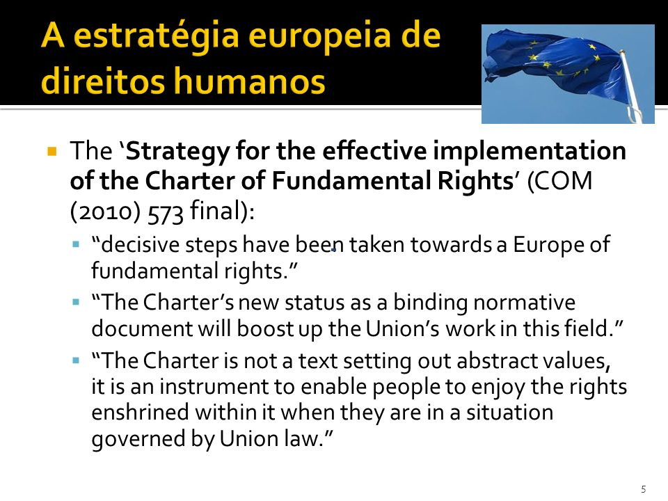 The Strategy for the effective implementation of the Charter of Fundamental Rights (COM (2010) 573 final): decisive steps have been taken towards a Europe of fundamental rights.