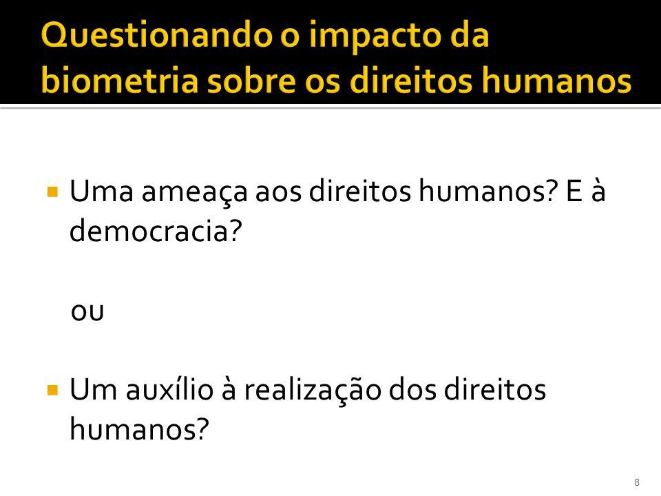 Uma ameaça aos direitos humanos? E à democracia? ou Um auxílio à realização dos direitos humanos? 8