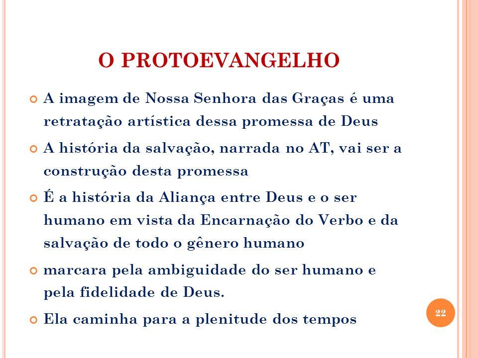 O PROTOEVANGELHO A imagem de Nossa Senhora das Graças é uma retratação artística dessa promessa de Deus A história da salvação, narrada no AT, vai ser