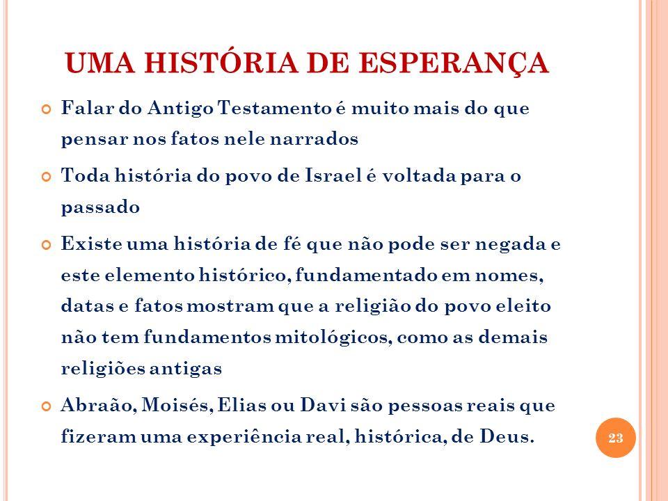 UMA HISTÓRIA DE ESPERANÇA Falar do Antigo Testamento é muito mais do que pensar nos fatos nele narrados Toda história do povo de Israel é voltada para