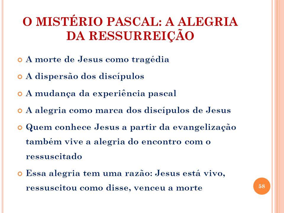 O MISTÉRIO PASCAL: A ALEGRIA DA RESSURREIÇÃO A morte de Jesus como tragédia A dispersão dos discípulos A mudança da experiência pascal A alegria como