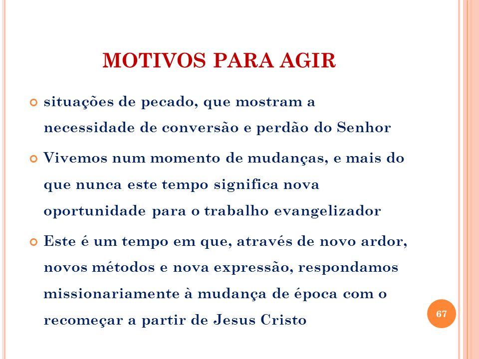 MOTIVOS PARA AGIR situações de pecado, que mostram a necessidade de conversão e perdão do Senhor Vivemos num momento de mudanças, e mais do que nunca