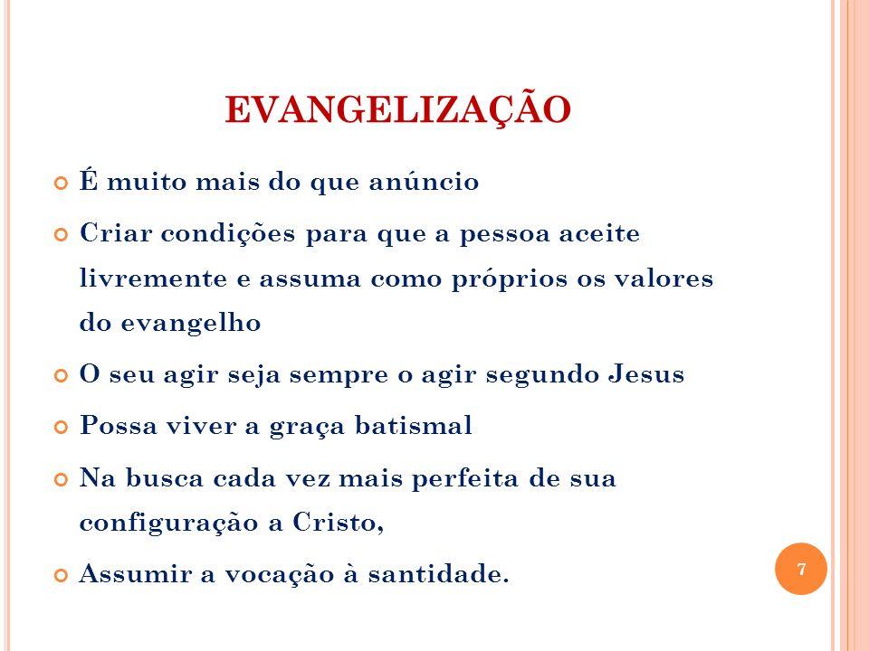 EVANGELIZAÇÃO É muito mais do que anúncio Criar condições para que a pessoa aceite livremente e assuma como próprios os valores do evangelho O seu agi