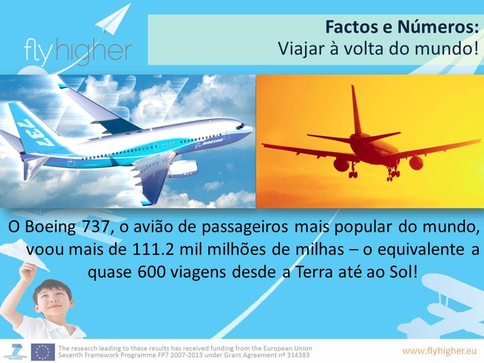 www.flyhigher.eu Factos e Números: Viajar à volta do mundo! O Boeing 737, o avião de passageiros mais popular do mundo, voou mais de 111.2 mil milhões