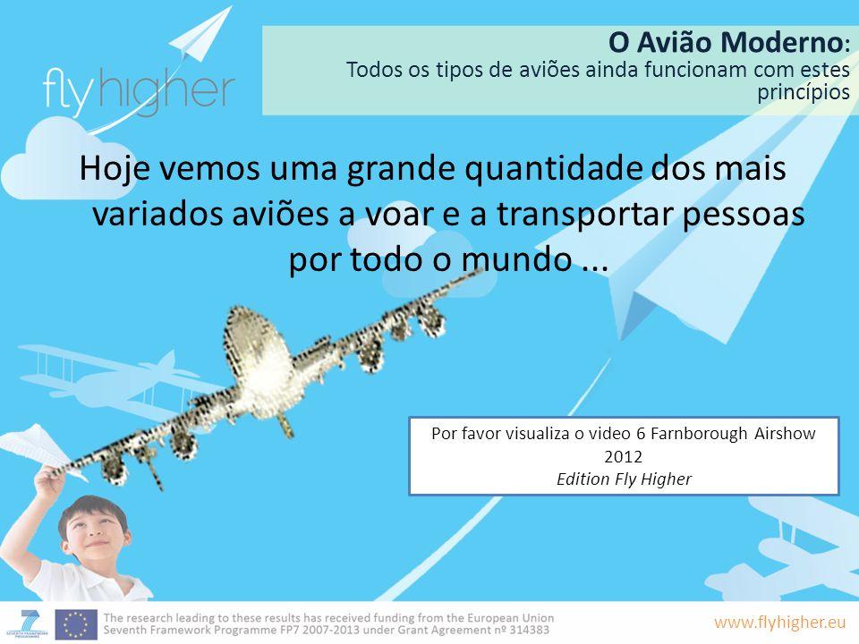 www.flyhigher.eu O Avião Moderno : Todos os tipos de aviões ainda funcionam com estes princípios Hoje vemos uma grande quantidade dos mais variados av