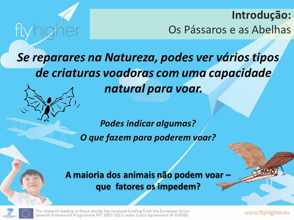 www.flyhigher.eu Introdução: Os Pássaros e as Abelhas Se reparares na natureza, podes ver todos os tipos animais e insetos a voar.