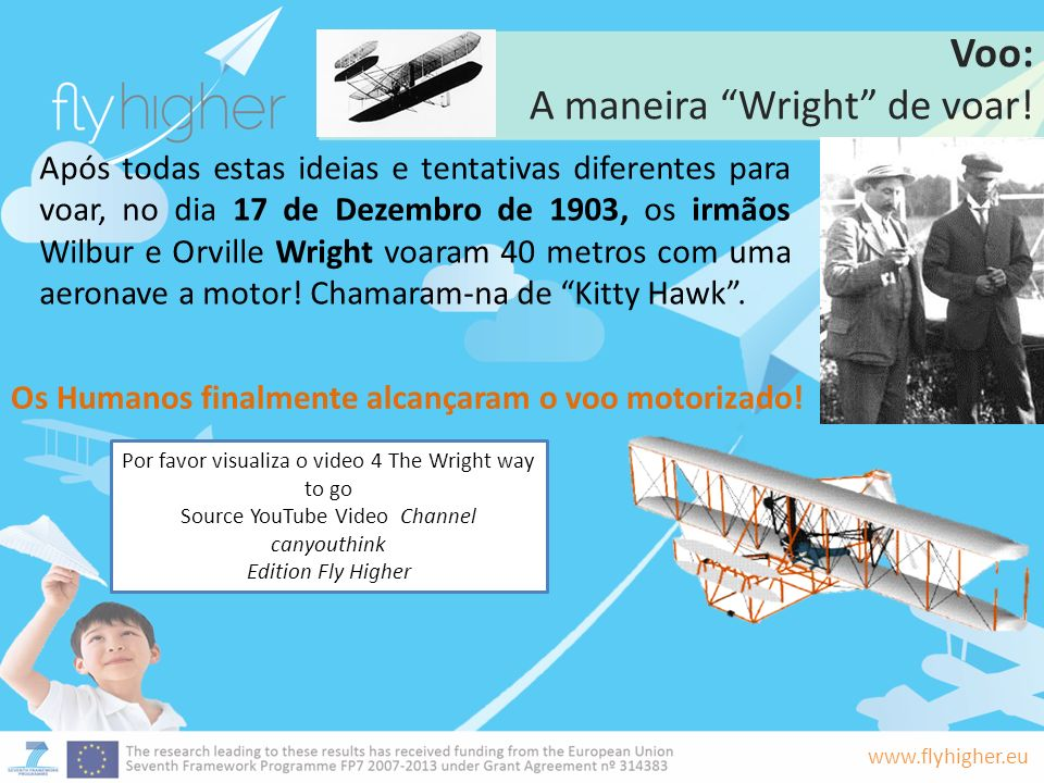 www.flyhigher.eu Voo: A maneira Wright de voar! Após todas estas ideias e tentativas diferentes para voar, no dia 17 de Dezembro de 1903, os irmãos Wi
