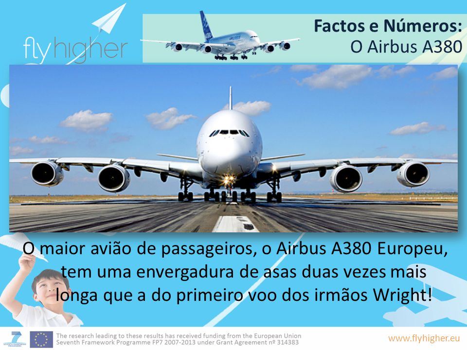 www.flyhigher.eu Factos e Números: A380: Características Até 525 passageiros 320.000 litros de combustível 24 metros de altura 73 metros de comprimento Pesa até 560 toneladas Até 15.700 Km de distância de voo