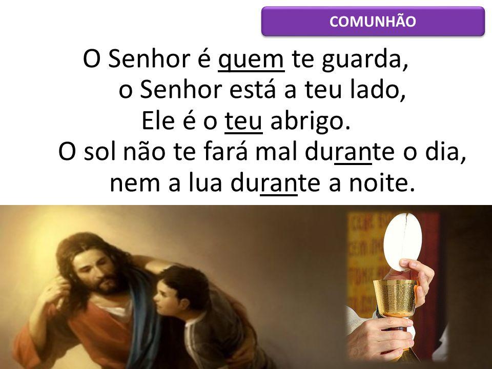 O Senhor é quem te guarda, o Senhor está a teu lado, Ele é o teu abrigo. O sol não te fará mal durante o dia, nem a lua durante a noite. COMUNHÃO