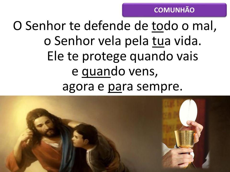 O Senhor te defende de todo o mal, o Senhor vela pela tua vida. Ele te protege quando vais e quando vens, agora e para sempre. COMUNHÃO