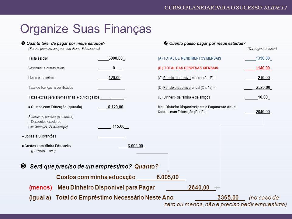 Organize Suas Finanças Será que preciso de um empréstimo.
