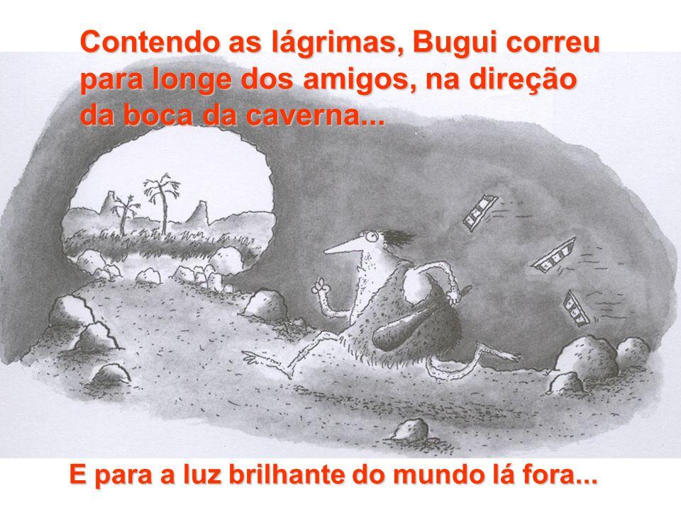 Contendo as lágrimas, Bugui correu para longe dos amigos, na direção da boca da caverna... E para a luz brilhante do mundo lá fora...