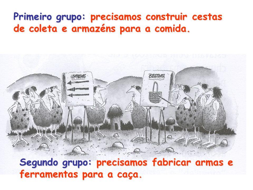 Primeiro grupo: precisamos construir cestas de coleta e armazéns para a comida. Segundo grupo: precisamos fabricar armas e ferramentas para a caça.