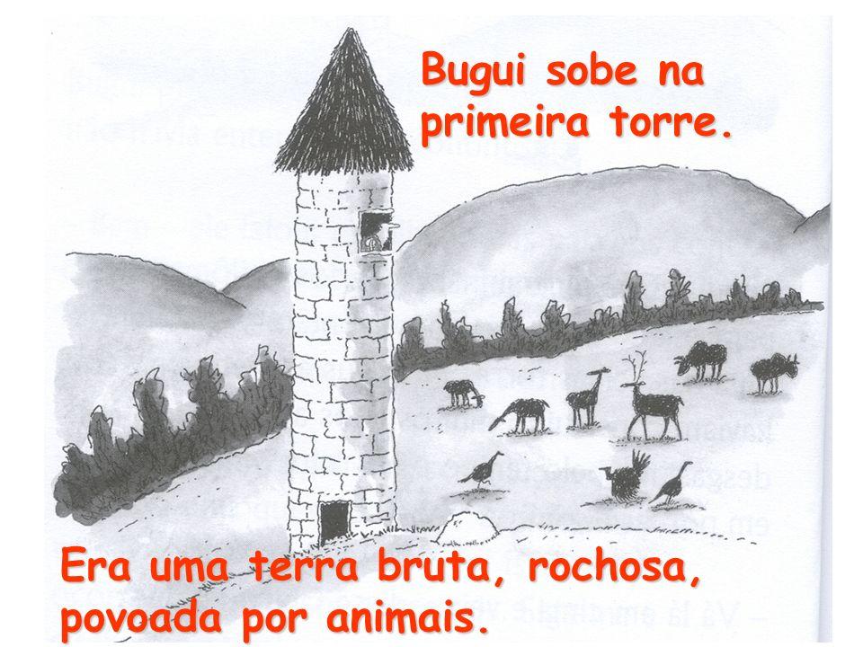 Bugui sobe na primeira torre. Era uma terra bruta, rochosa, povoada por animais.