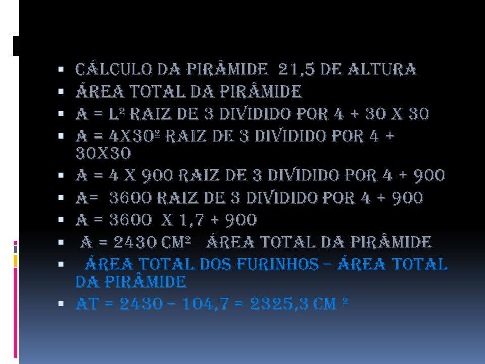 Cálculo da pirâmide 21,5 de altura Área total da pirâmide A = l² raiz de 3 dividido por 4 + 30 x 30 A = 4x30² raiz de 3 dividido por 4 + 30x30 A = 4 x 900 raiz de 3 dividido por 4 + 900 A= 3600 raiz de 3 dividido por 4 + 900 A = 3600 x 1,7 + 900 a = 2430 cm² área total da pirâmide área total dos furinhos – área total da pirâmide at = 2430 – 104,7 = 2325,3 cm ²