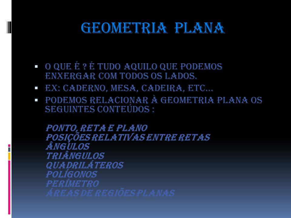 Geometria plana O que é ? É tudo aquilo que podemos enxergar com todos os lados. EX: Caderno, mesa, cadeira, etc... Podemos relacionar à Geometria pla