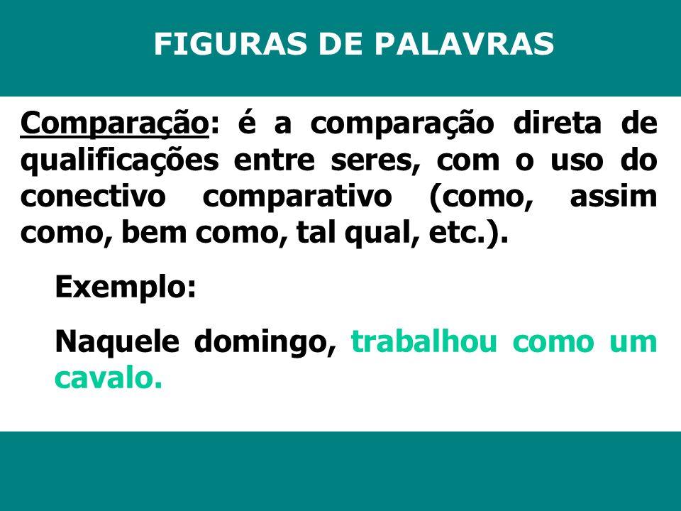 FIGURAS DE PALAVRAS Comparação: é a comparação direta de qualificações entre seres, com o uso do conectivo comparativo (como, assim como, bem como, ta