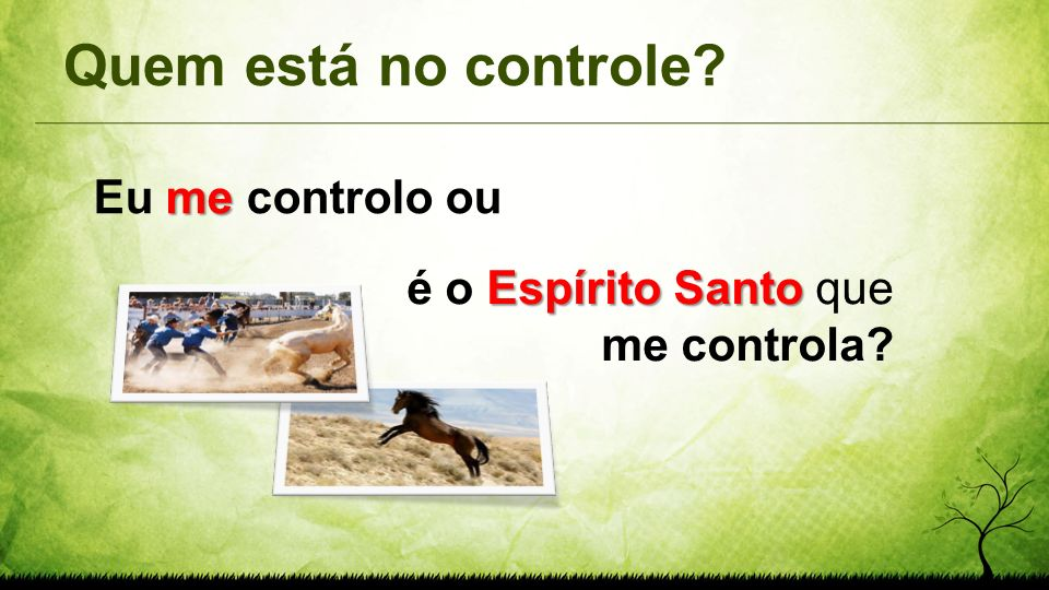 Quem está no controle? me Eu me controlo ou Espírito Santo é o Espírito Santo que me controla?