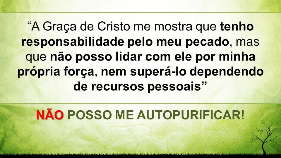 A Graça de Cristo me mostra que tenho responsabilidade pelo meu pecado, mas que não posso lidar com ele por minha própria força, nem superá-lo depende